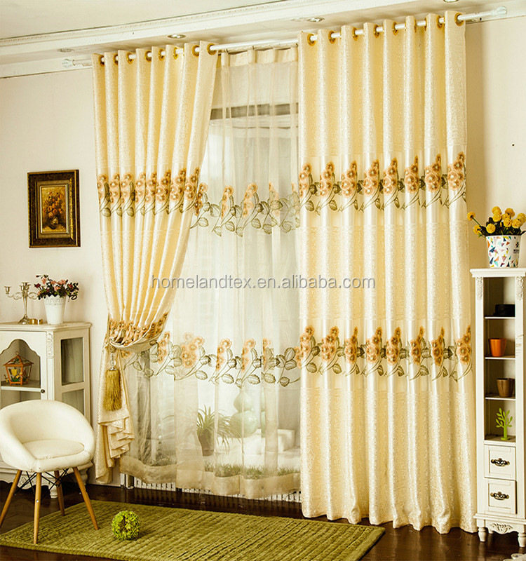 Luxurious Upscale Jacquard Yarn Curtains Sheer Voile Door Window Curtains Living Room Bedroom Decor