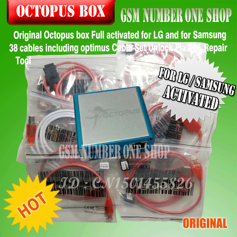 US $207 9 |gsmjustoncct 100% Original Octopus box for Samsung &LG Pre  activated New update For Samsung S5 (package with 38 cables)-in Telecom  Parts