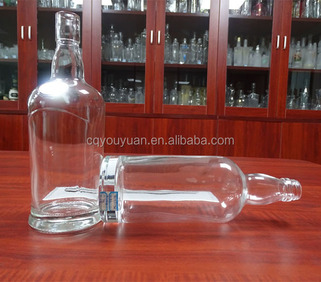Wholesale Round 24oz Clear Glass Bottle Weight For Whiskey