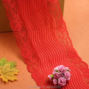 eco-friendly material spandex&nylon mesh jacquard red lace trimming for night dress