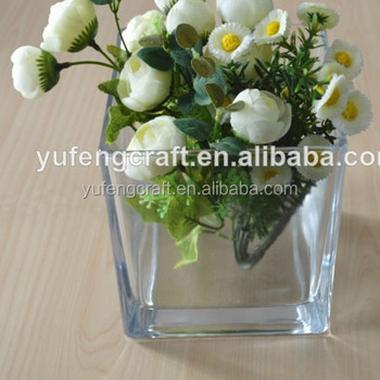 Clear Square Vases Clear Glass Flower Arrangements Wedding Deco