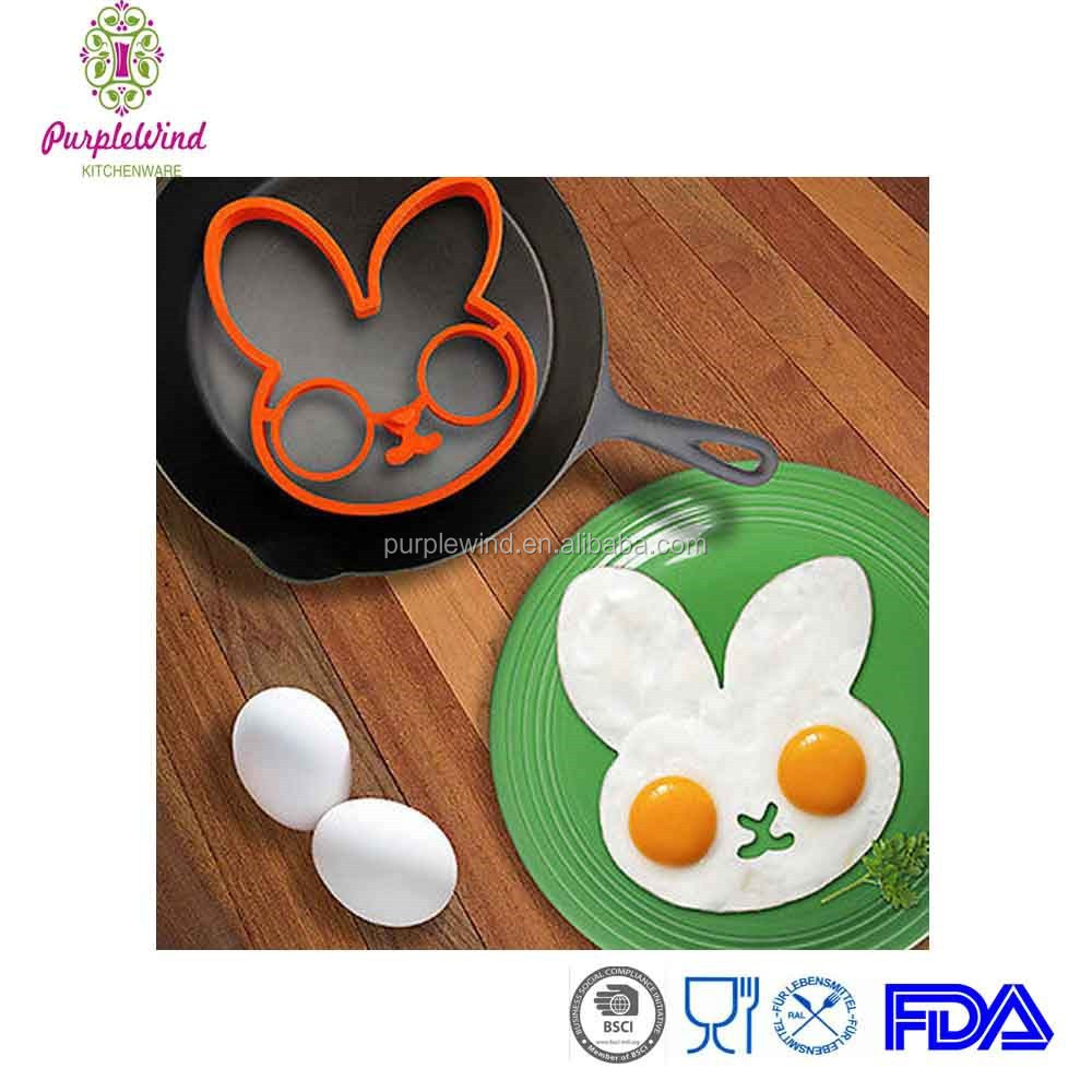 BUNNYSIDE UP EGG MOLD Kitchen Gift Cooking Tool Silicone Rabbit Pancake Ring Kid