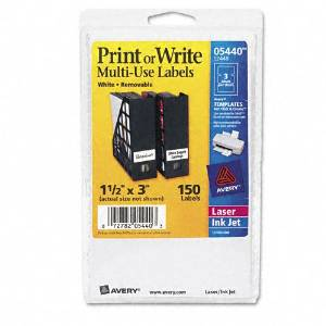 Avery : Print or Write Removable Multi-Use Labels, 1-1/2 x 3, White, 150/Pack -:- Sold as 2 Packs of - 150 - / - Total of 300 Each