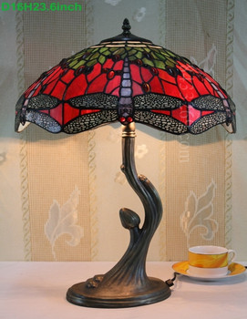 16S4-300T215 factory supply for 16inch tiffany handmade tiffany stained glass dragonfly lamp