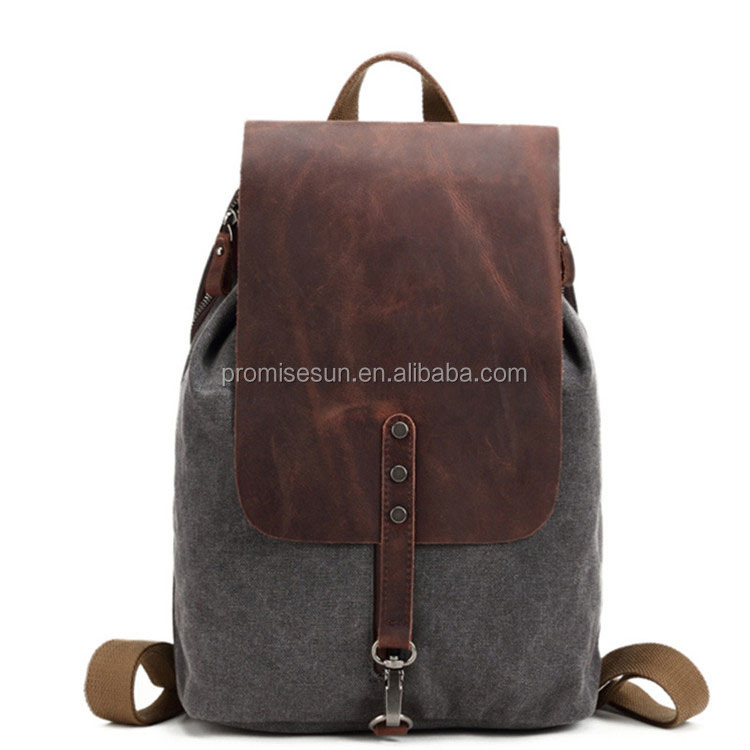 Vintage Canvas Backpack Rucksack Casual Daypacks Bookbags,cotton leather backpack bag <strong>school</strong>