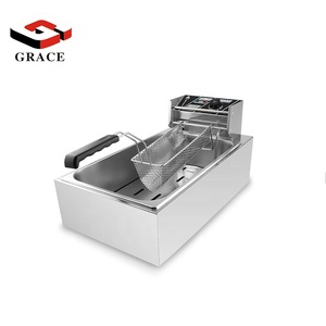 Large Capacity Commercial Countertop Long Potato Chips Frying Machine Electric Deep Fryer