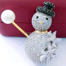 2017 manufacturer new style hot selling christmas jewelry snowman brooch