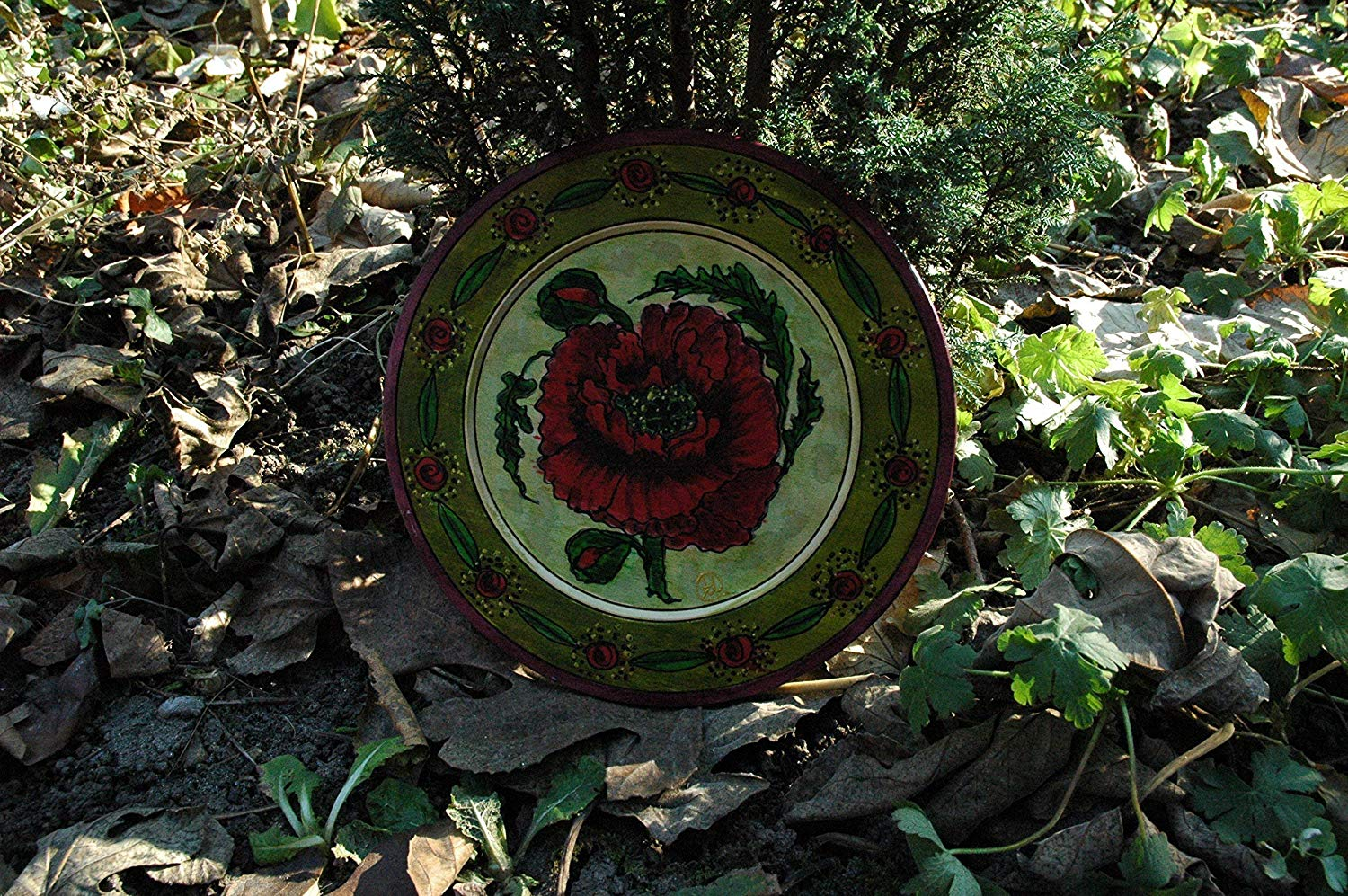 Sale!!!10% Off,Hand Painted Red Poppy on Wooden Plate, Wooden Souvenir Plate Poppy Flower, Wood Bowl, Handpainted Bowl Plate, Wall Hanging Plate, Floral Plates.