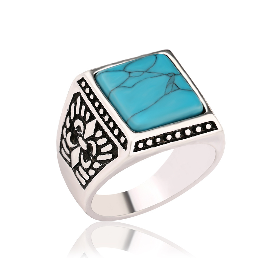Vintage Native American Handmade Sterling <strong>Silver</strong> Plated Blue Square Shape Turquoise Stone Ring