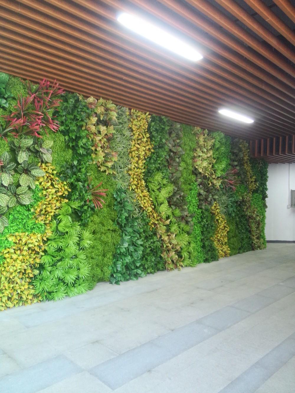 Indoor Outdoor 1 1m Artificial Plastic Green Plants Wall