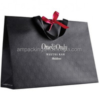 custom black spot foil gift paper bag shopping bag with ribbon handle
