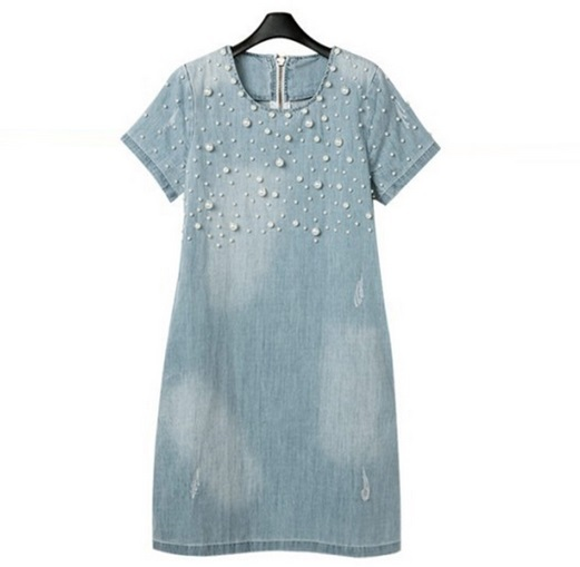 Large Femininos A-line Jeans Women's casual plus size vestidos ladies Summer Denim Dresses skirts with pearl beading Party Dress