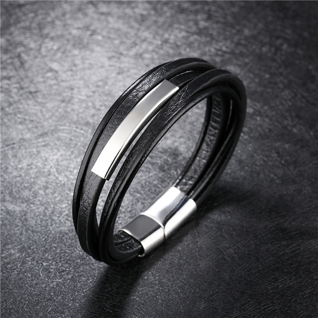 Accessories For Men 2018 New Design Jewelry Gemstone Jewelry Fashion Mens Leather Bracelet
