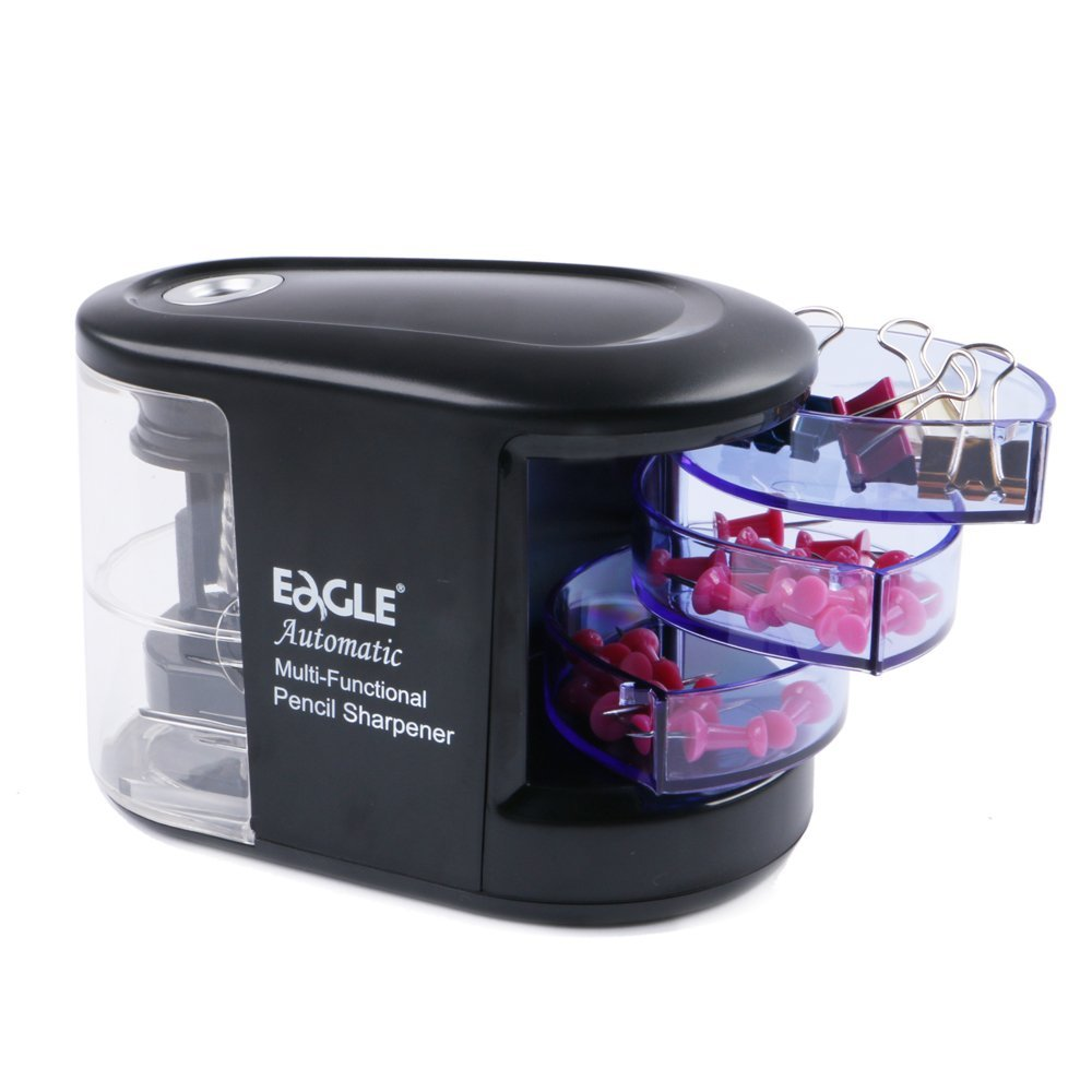 Eagle Electric Pencil Sharpener, Heavy-Duty, Battery Operated, Helical Steel Blades, With Drawers for Sundries (Black)