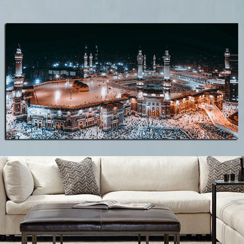 Low price Print Mecca Muslim Mosque Landscape Painting On Canvas Religious Art islamic canvas art pakistan