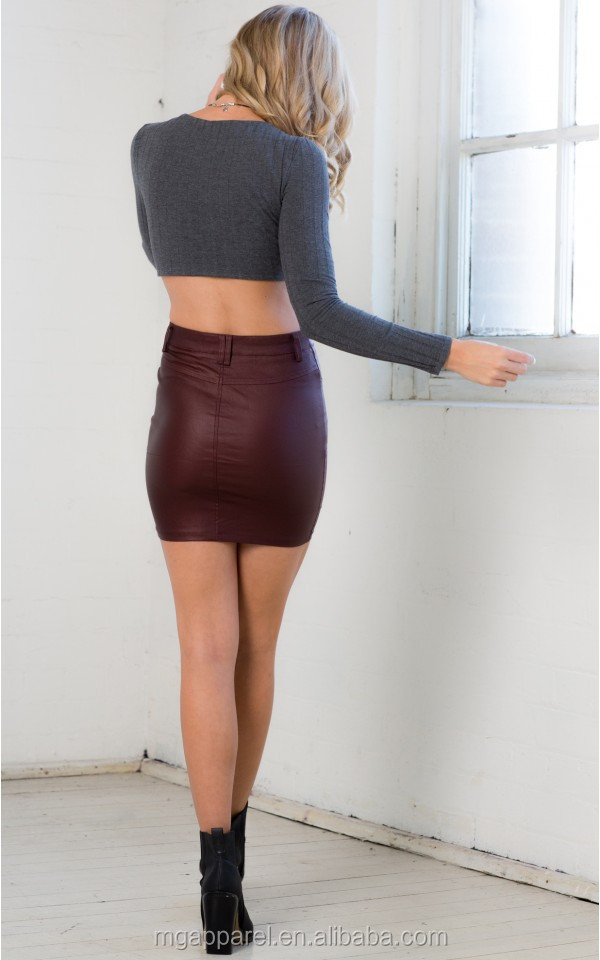 High Waist Slight Sheen Leather Looking Sexy Tight Mini Skirt For ...