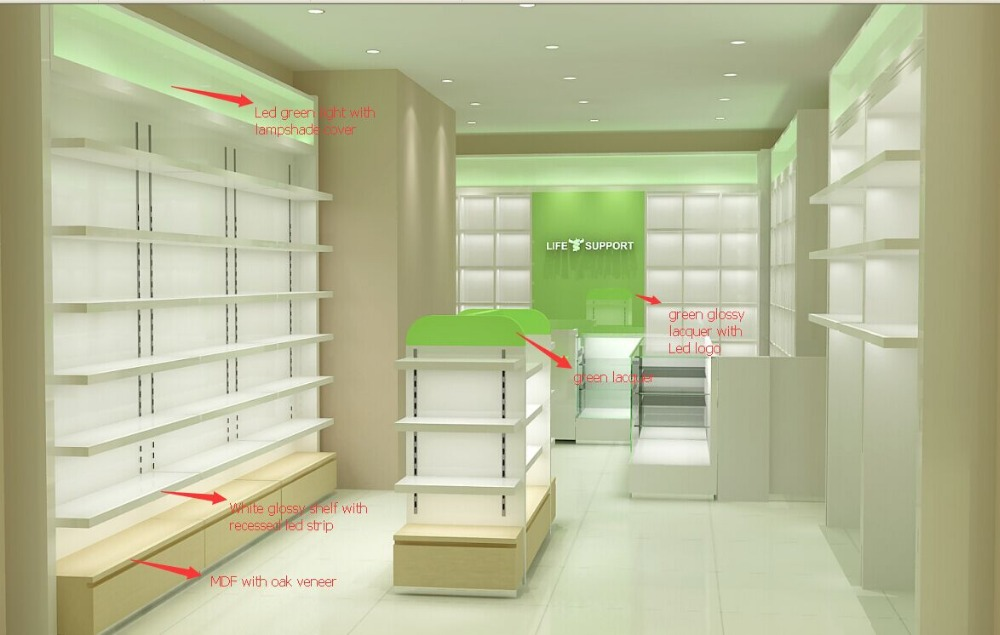 Unique Retail Pharmacy Store Furniture Display Showcase Design Medical Store  Counter Design