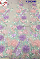 2017 Gorgeous Colorful 3D Flowers French Lace Fabric Beaded Tulle Lace Fabric Nigeria Embroidery Fabric CL60997