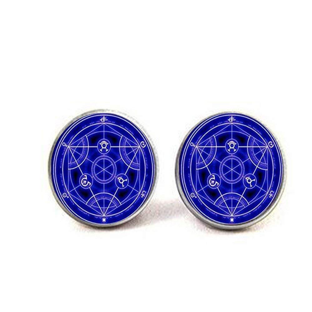 Full Metal Alchemist Transmutation Blue Circle Cufflinks Full Metal Blue Alchemist Cufflinks Full Metal Blue Alchemist Glass Dome