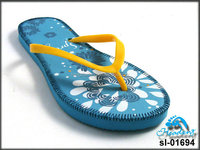 promotional blue pe slippers/beach flip flops
