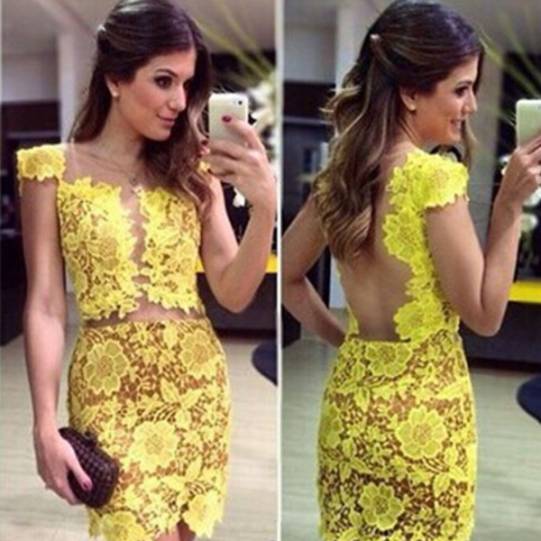 MS65988W fashion women summer spring lace dress yellow