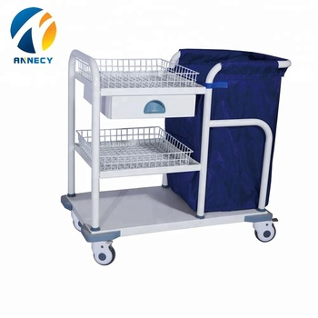 AC-WT004 High Quality Hospital Medical linen cleaning waste Trolley bin with wheels