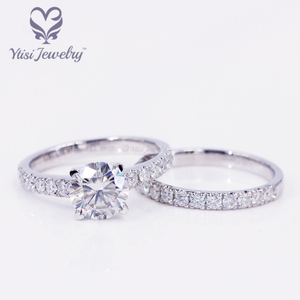 73bd457cae00c 14k white gold wedding ring set 2ct round H&A cut moissanite lady ring