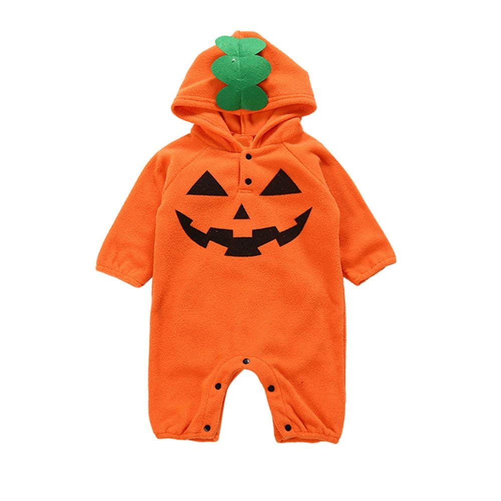 Yihaojia Hooded Romper Toddler Infant Baby Girls&Boys Pumpkin Leaf Jumpsuit Winter Autumn Cotton Outfits Clothes 6-24M (age: 4-6 month, Orange)