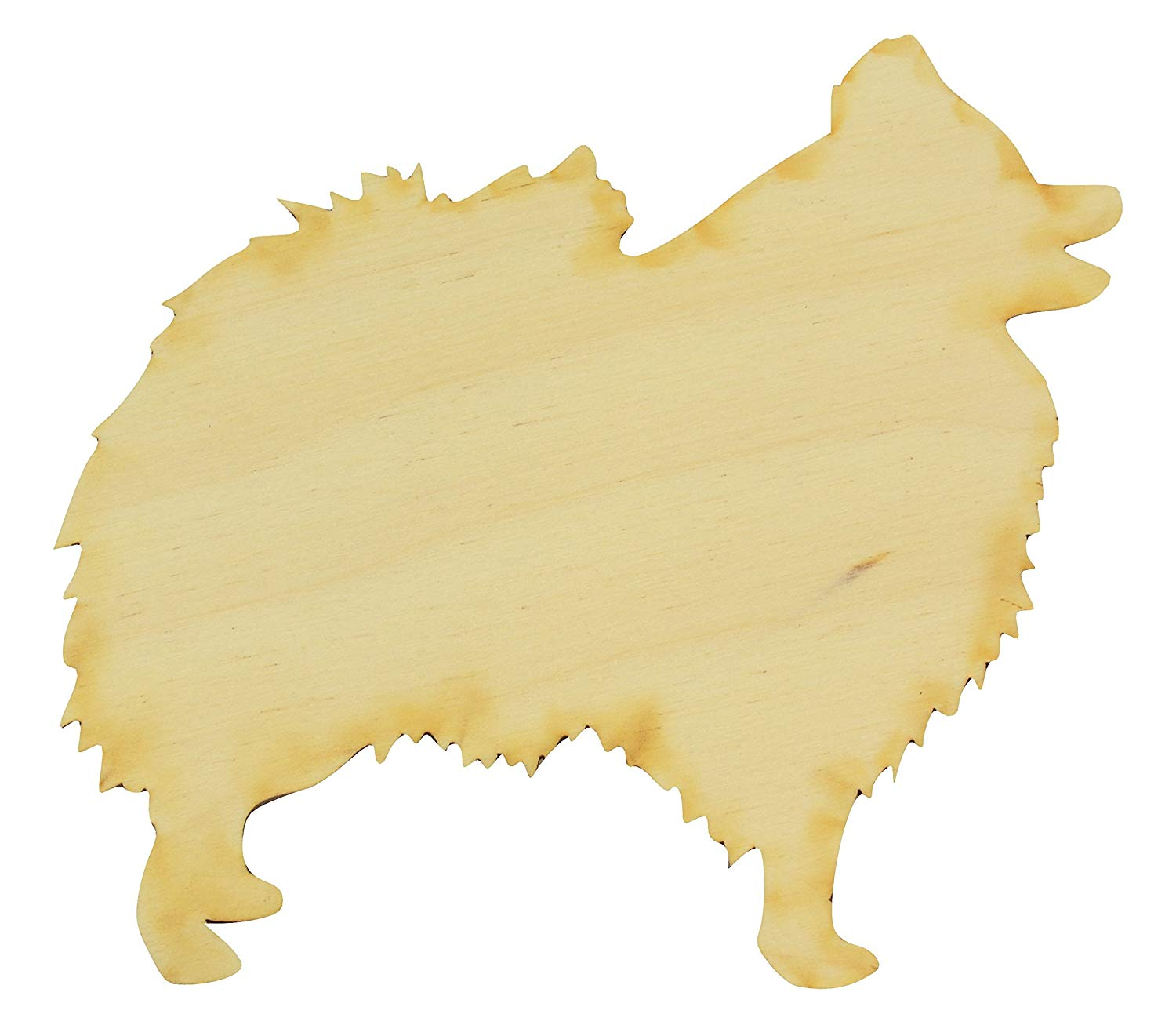 """Standing Pomeranian # 2 Wood Cutout (Small 5"""" x 4.75"""" [Package of 10], 1/4"""" Baltic Birch Plywood)"""