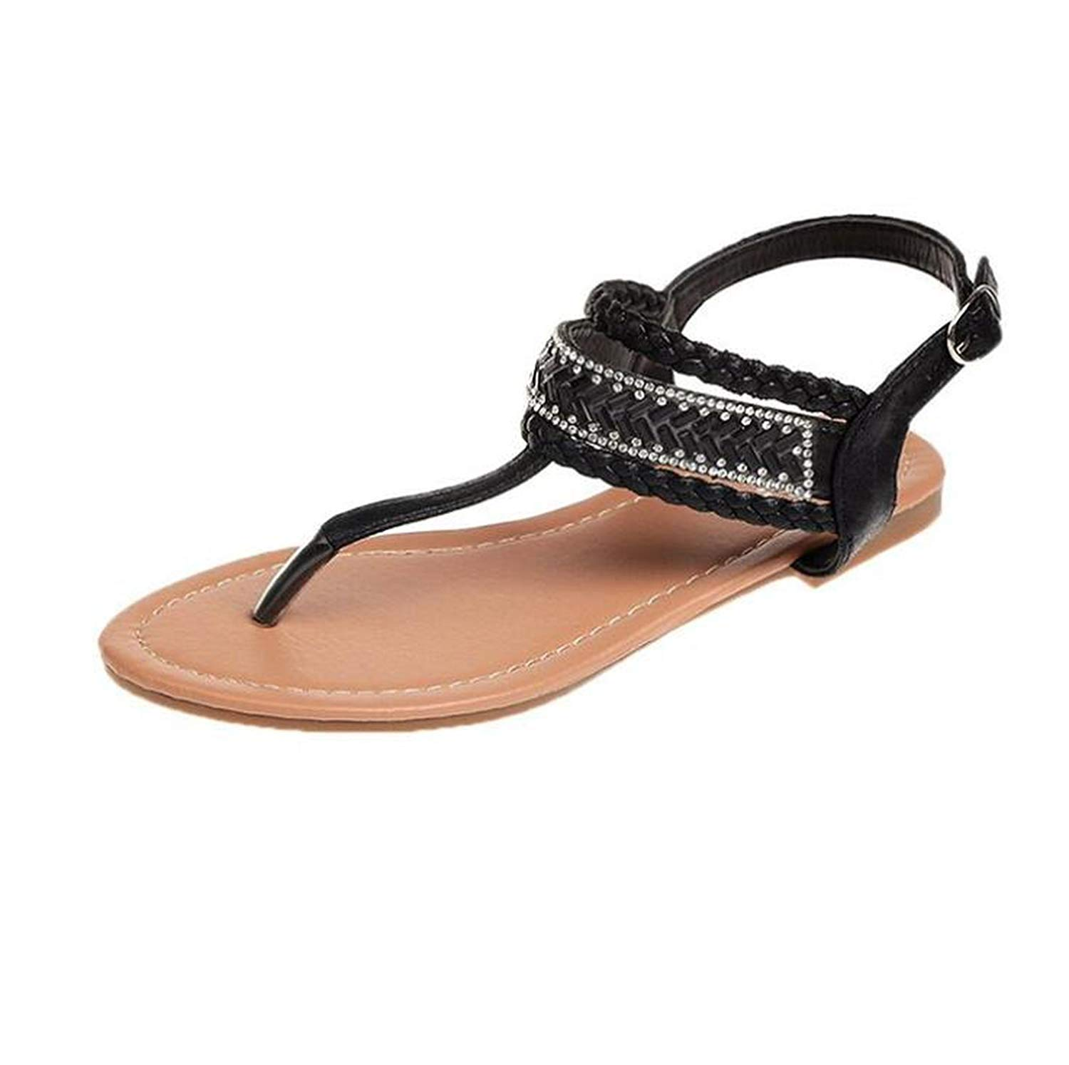 a5c511cad5fc6 Get Quotations · Kinggolder Sandals Flat Heel Summer Shoes Casual Leather  Thong Sandals Slip Resistance Women Crystal Flats Bohemia