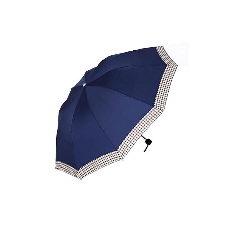 Umbrella Folding Umbrella Female Reinforcement Plaid Men'S Solid Color Strengthen Umbrella