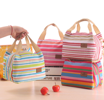 Korean Version Of The Striped Canvas Large Cloth Oxford Handbag Lunch Insulation Bags Storage