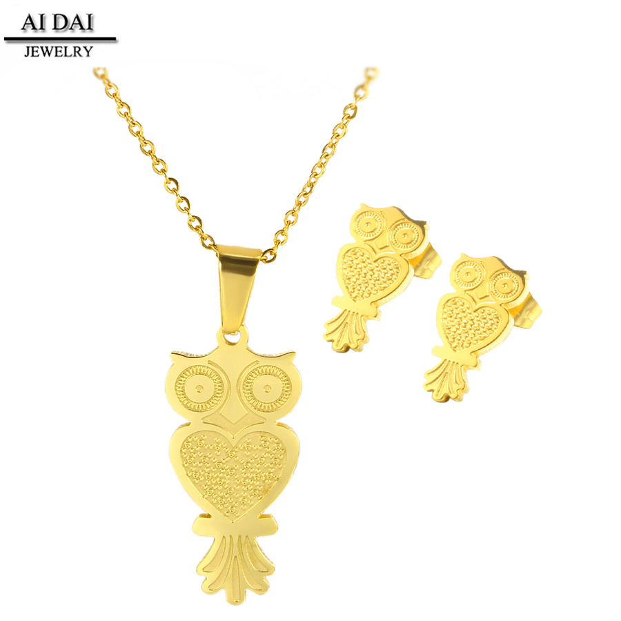 22k gold design owl jewelry jewellery set <strong>manufacturing</strong> (S1-A0063)