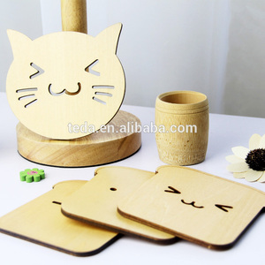 diy wood die cut drink cute cat coaster low price