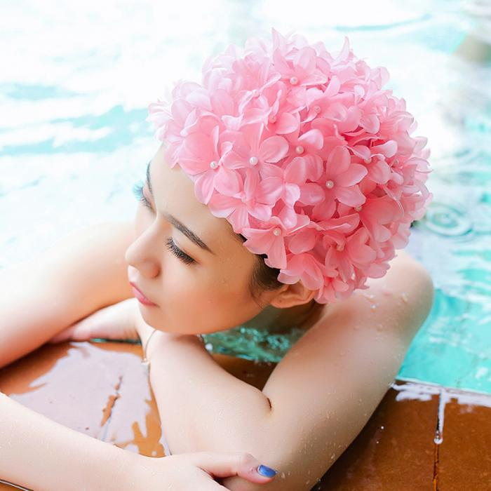 7bbbe9cead1 6 Color Women 3D Petal Swim Hat Bath Cap Ladies Swimming Pool Flower Hats XR -Hot