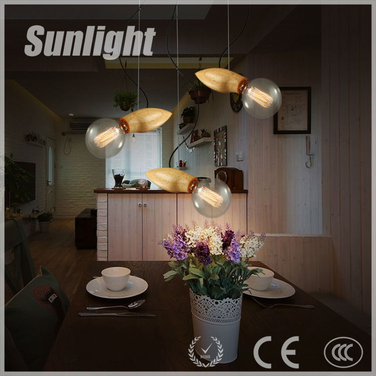indoor Solid wood restaurant meals chandeliers single head glass droplight oak mango Modern Industrial Pendant Light