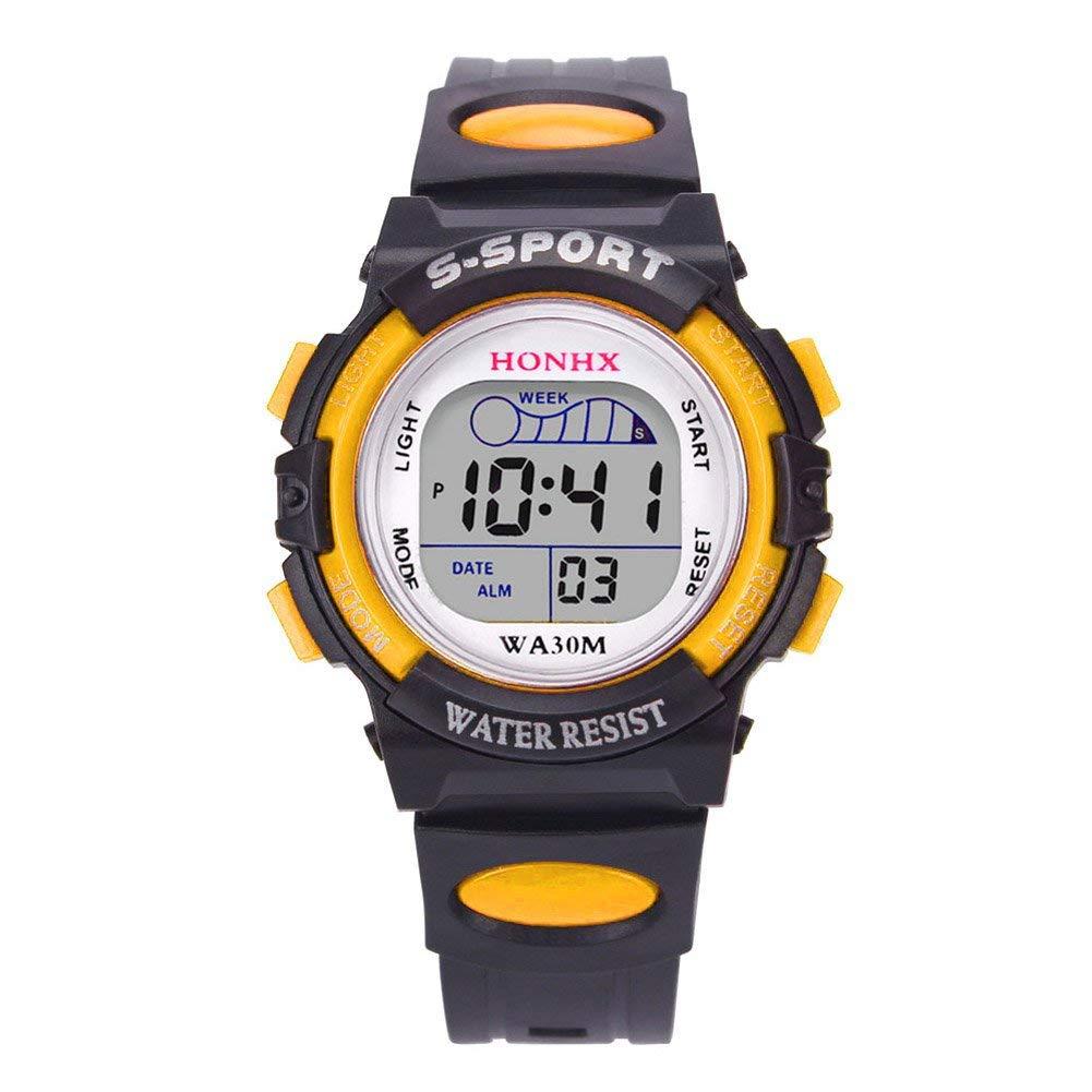 UNIhappy Multifunction Waterproof Sport Electronic Digital Wrist Watch (Yellow)
