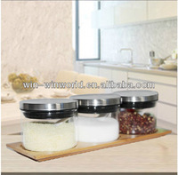Glass Mini Cookie Jar With Stainless Steel Lid