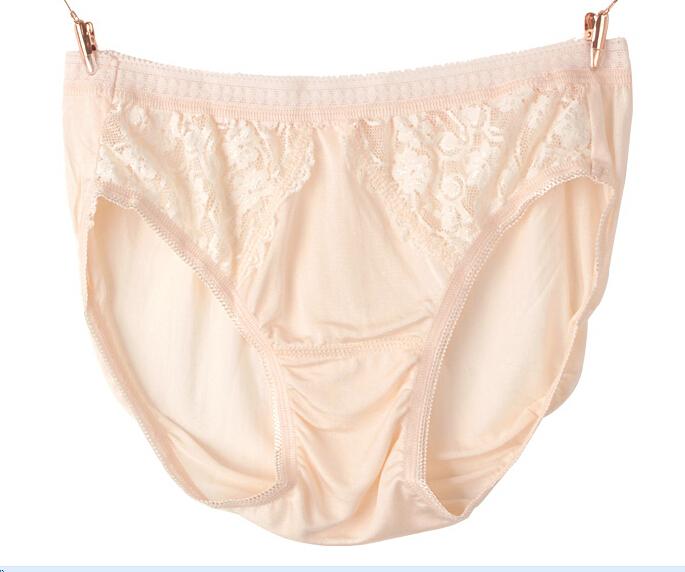7915726797c1 Get Quotations · 100% Silk Briefs Women Silk Underpants Lace decoration  Black Pink Solid Color M L XL 3pieces
