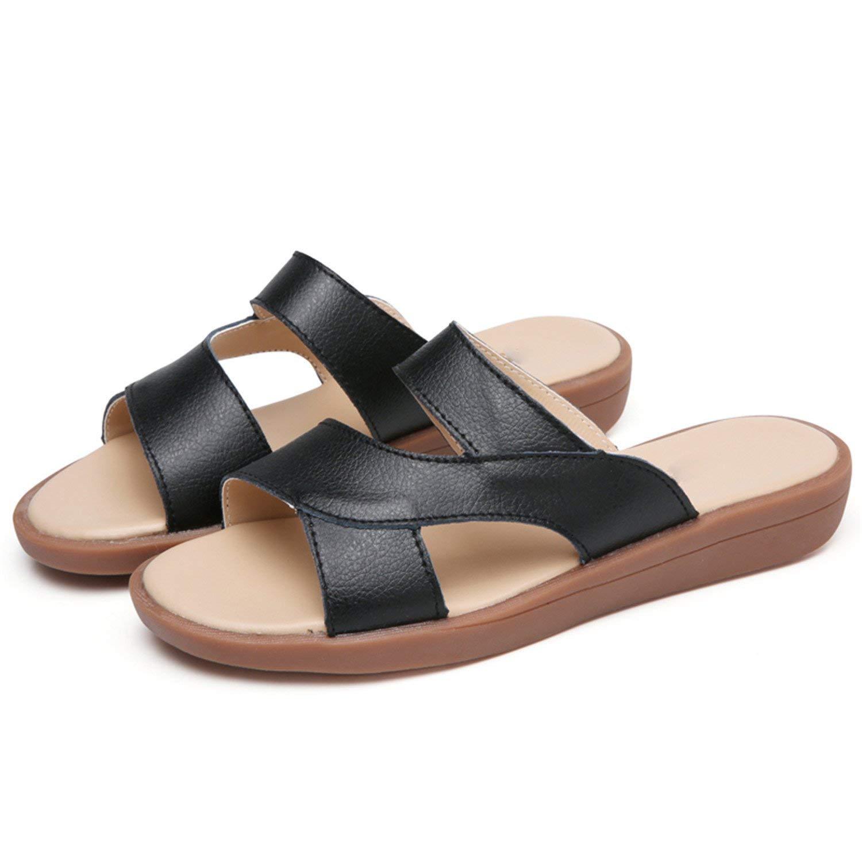 864e178a6e7a Baolustre Women Flip Flops Flat Slides Sandals Casual Genuine Leather Sandales  Femme Beach Shoes