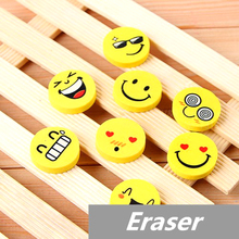 10 pcs Lot Smile face Erasers rubber for pencil font b kid b font funny cute