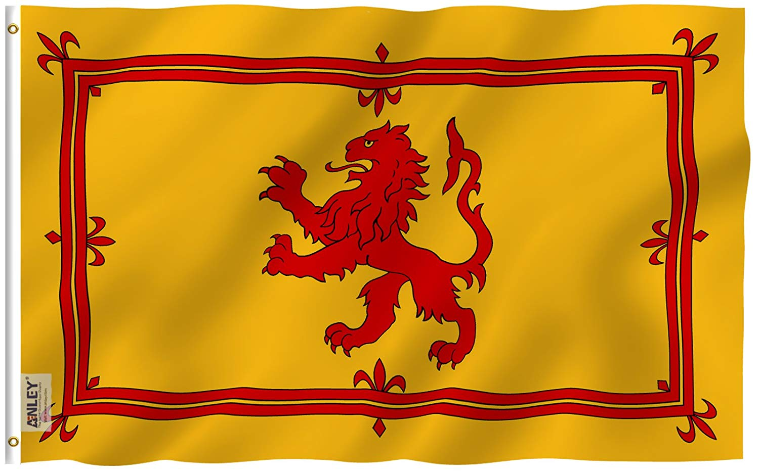 Anley |Fly Breeze| 3x5 Foot Scotland Rampant Lion Flag - Vivid Color and UV Fade Resistant - Canvas Header and Double Stitched - Scottish Rampant Lion Flags Polyester with Brass Grommets 3 X 5 Ft