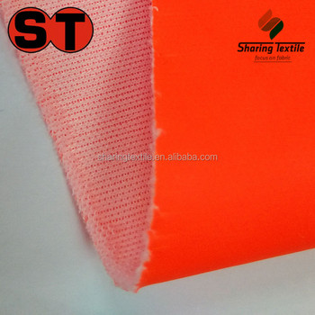 Wholesale High Visibility Orange Pu Membrance Coating Fabric/Bright Orange Pu Membrance Bonded Fabric/Safety Orange Pu Fabric