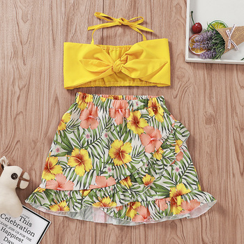 Sexy Light Yellow Narrow Straps Tops+Floral  printed Skirt 2pcs Bulk Sale China Suppliers