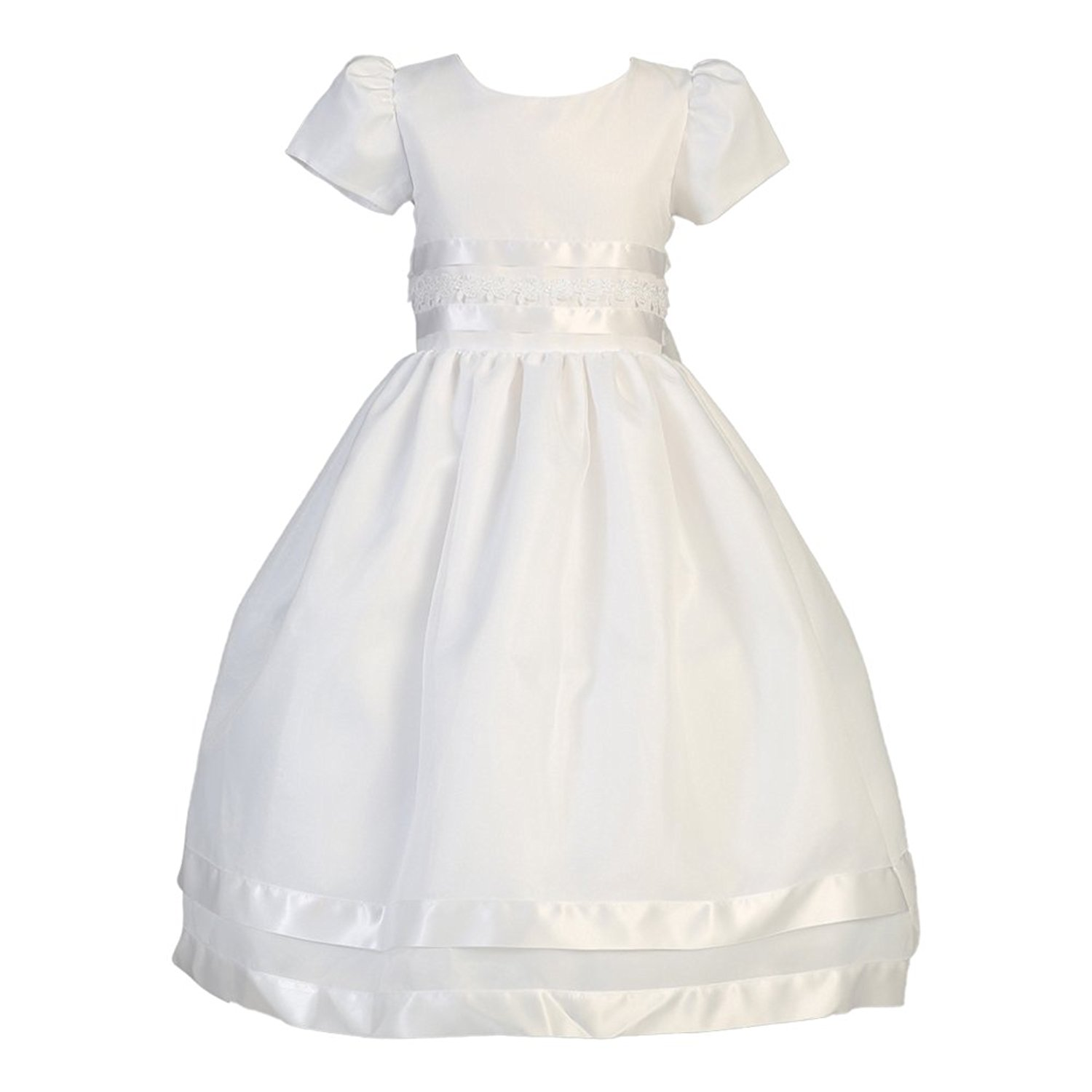 e6e31d84412 Get Quotations · Lito Big Girls White Satin Lace Organza Tea Length Communion  Dress