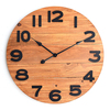 Qingfeng Rustic Style Outdoor Frameless Wood Carved Wall Clock With Large Size