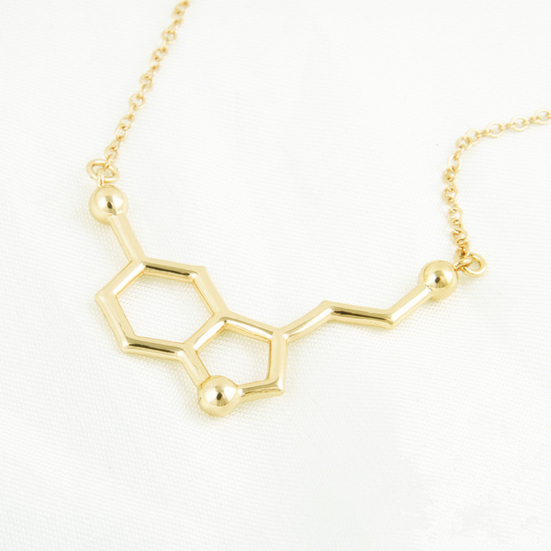 Fashion Jewelry Serotonin Molecule Chemistry Necklace Small Pendant Necklaces for Women Cute Simple Party Jewelry