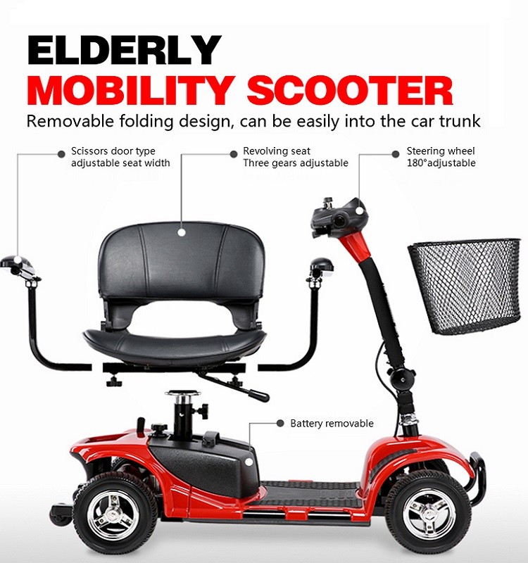 180W High Quality folding Handicapped electric mobility scooter