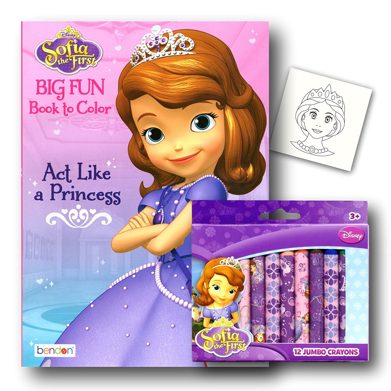 Disney Sofia the First Coloring Book and Crayons Plus Separately Licensed Princess Coloring Fun Sticker