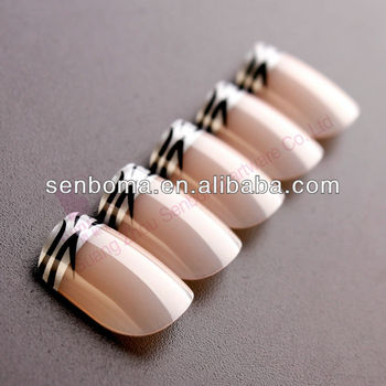 Newly French Style Zebra Design Nail Art Tips